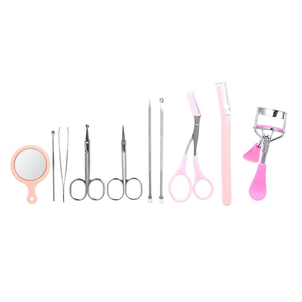 Anself 10pcs Eyebrow Tools Kit Eyelash Curler Eybrow Tweezer Shaper Scissor Earpick Acne Blackhead Neddle Kit W5274-HMMFBA