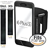 """Mediabridge Armband for iPhone 6S Plus / 6 Plus ( Black ) - Includes Standard Strap To Fit 11""""-20"""" Arm Circumferences & Extra Small Strap To Fit 7""""-12"""" - Model AB1 (Part# AB1-I6+-BLACK )"""