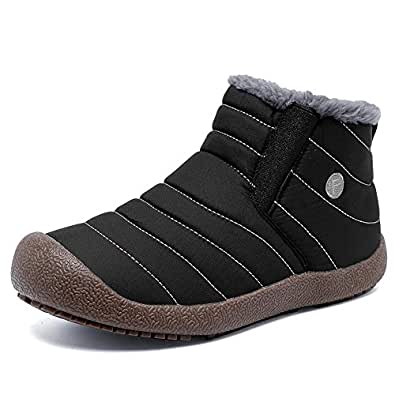 EQUICK Men and Women Snow Boots Fur Lined Winter Outdoor Slip On Shoes Ankle Boots Black Size: 38EU/7 B(M) US Women