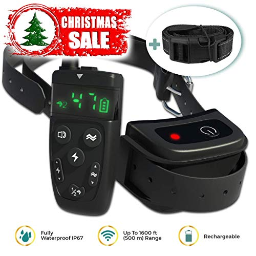 All-New 2019 Dog Training Collar with Remote | Long Range 1600 ft, Shock, Vibration Control, Rechargeable & IPX7 Waterproof | E-Collar Shock Collar for Dogs Small, Medium, Large Size, All Breeds -