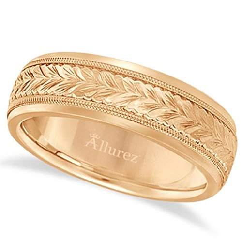 Hand Carved Wedding Band (Hand Engraved Wedding Band Carved Ring 14k Gold 4.5mm)