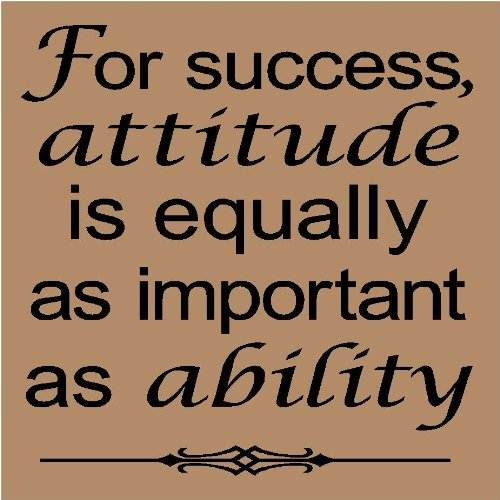 For success, attitude is equally as important as ability 12x12 vinyl wall art decals sayings words lettering quotes home decor