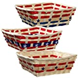 Patriotic Square Bamboo Baskets with Red and Blue Bamboo Strips and and Are Great for Independance Day
