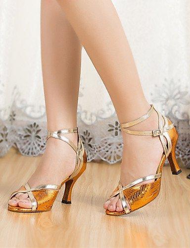 ShangYi Chaussures de danse ( Autre ) - Non Personnalisables - Talon Cubain - Cuir / Cuir Verni - Latine / Jazz , gold-us8 / eu39 / uk6 / cn39 , gold-us8 / eu39 / uk6 / cn39