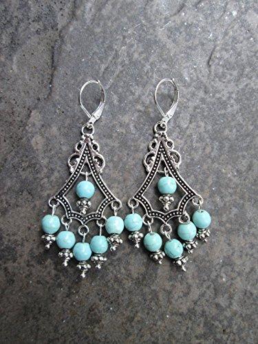 (Turquoise Chandelier earrings with Sterling Silver lever backs Boho style earrings)