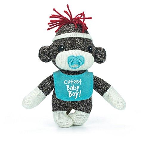Sockiez Sock Monkey Baby Sockie, 6 Inches With Message on Bib (Cutest Baby Boy) (Babies Pluffies Beanie)