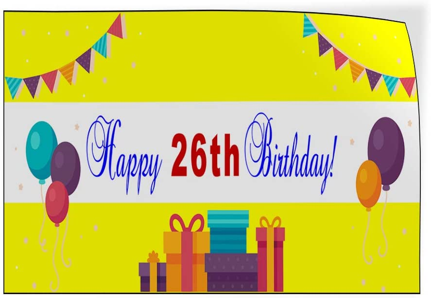 Custom Door Decals Vinyl Stickers Multiple Sizes Happy Age Birthday Yellow Lifestyle Happy Birthday Signs Outdoor Luggage /& Bumper Stickers for Cars Yellow 27X18Inches Set of 10
