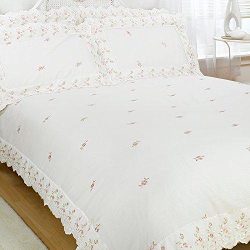 Just Contempo Luxus-Bettwäsche im Vintage-Stil mit Spitzenbesatz, Baumwollmischung, bestickt, Baumwollmischung, Broderie Anglaise - Creme, Einzelbett
