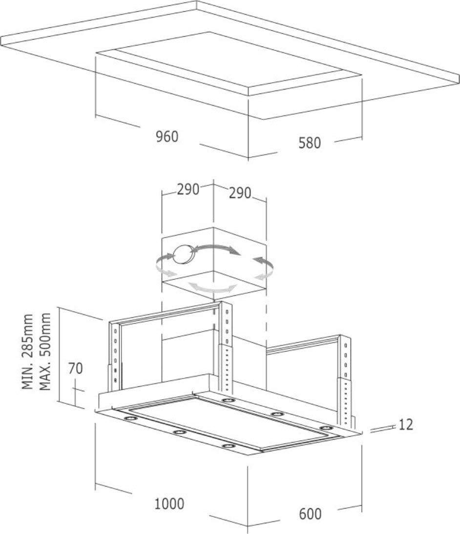 Cubierta de techo Nodor 100 cm/1000 m3/h absorbente y silencioso SilenTech motor/ventilador de techo de cristal blanco de acero inoxidable diseño/campana extractora/Touch Control/incluye filtro de carbón activo: Amazon.es: Grandes electrodomésticos