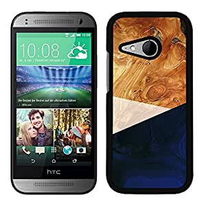 Funda carcasa para HTC One Mini 2 diseño efecto madera color azul borde negro