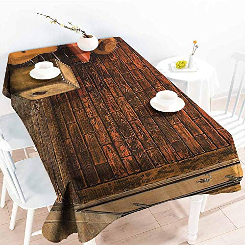 Homrkey Polyester Tablecloth Music Decor Music Instruments On Wooden Stage in Pub Beverage Cafe Counter Bar Drum Party W40 xL60