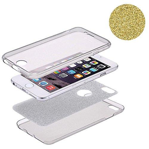 König-Shop Full TPU Case für Apple iPhone 8 Schutz Hülle Handy Glitzer Cover Gelb