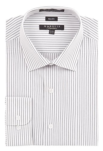 Marquis Men's Pin Striped Slim Fit Long Sleeve Button Down Collared Dress Shirt, XX-Large 18.5 35/36, White (Pocket Dress Shirt Pinstriped)