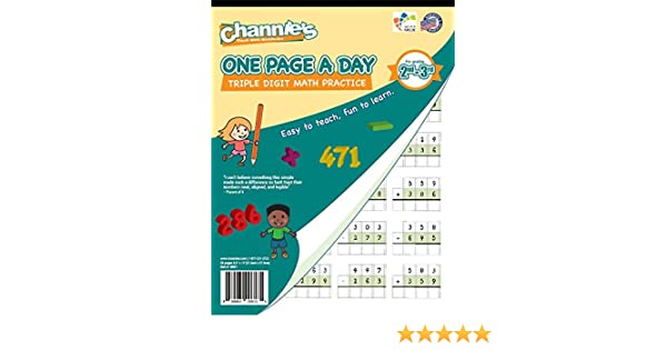 Amazon.com : Channie's One Page A Day Triple Digit Math Workbook ...