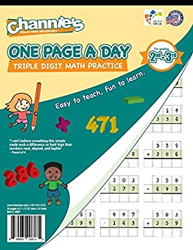 Math Worksheets math worksheets online free : Amazon.com : Channie's One Page A Day Triple Digit Math Workbook ...