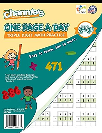 Amazon.com : Channie\'s One Page A Day Triple Digit Math Workbook ...