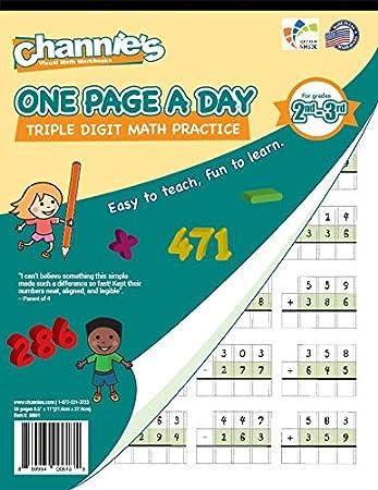 Amazon.com : Channie\'s One Page A Day Triple Digit Math Workbook ...