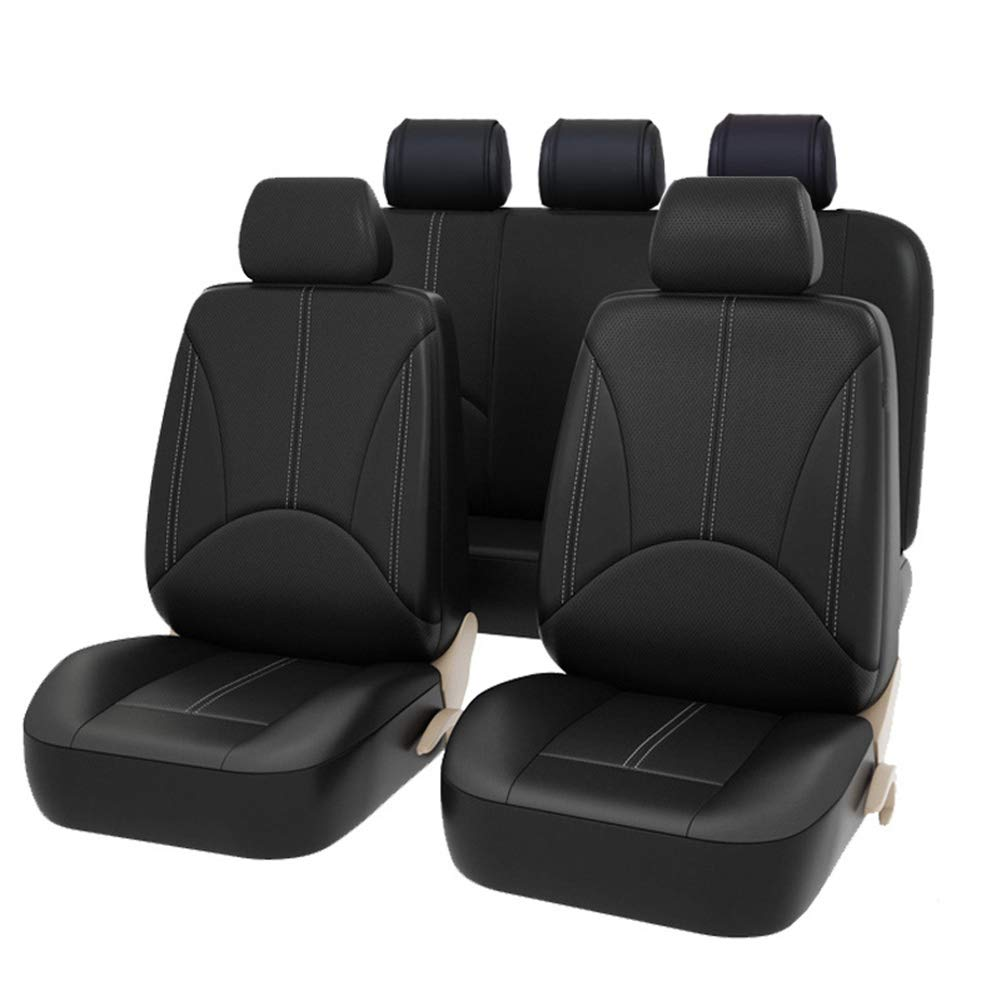 Car Seat Covers PU Leather Auto Universal for Gift Automotive Front And Back Seat Protectors Fits Most Car Truck Van SUV Black