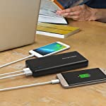 RAVPower USB C Battery Pack 20100 Portable Charger with QC 3.0 Qualcomm Quick Charge 3.0, 20100mAh Input & Output Type C Power Bank for Nintendo Switch, iPhone, 12-inch MacBook, Galaxy and More 16 Choose the RAVPower Treatment: Join millions of users worldwide that rely on our leading technology for their daily charging needs Quick Charge 3.0 Input & Output: 75% faster technology, charge compatible smartphones from 0 to 80% in only 60 minutes; QC3.0 input allows for speedy recharging of the battery charger Type-C Input & Output: The airplane-friendly power bank recharges up to 5V/3A; compatible with Nintendo Switch, 12-inch MacBook, Google Pixel 2, Samsung Galaxy S8 / S8 Plus, Huawei Mate 10 Pro