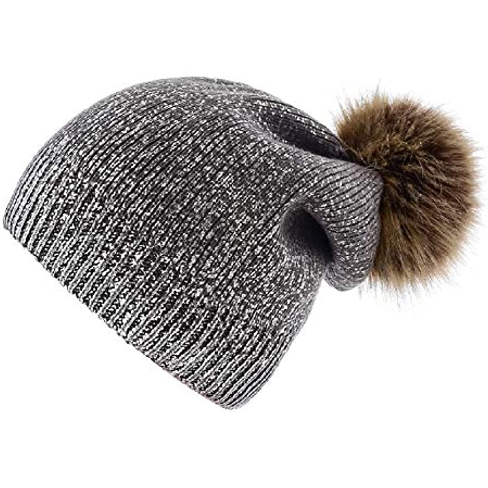 4179df31 Details about Winter Knitted Beanie Hat Women Pompom Shiny Faux Wool Hats  (Darkgray-Sliver)