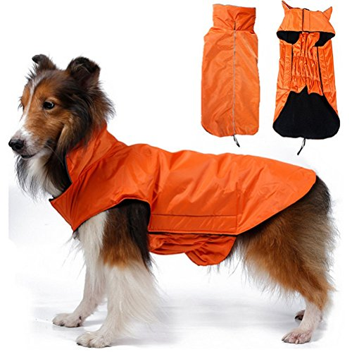 Orange Dog Coat (OHF Waterproof Dog Coat Jacket, Fleece Lined For Warmth, Chest Protector, Reflective Piping For night Safety, Orange XX-large)