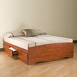 Cherry Queen Mate's Platform Storage Bed with 6 Drawers