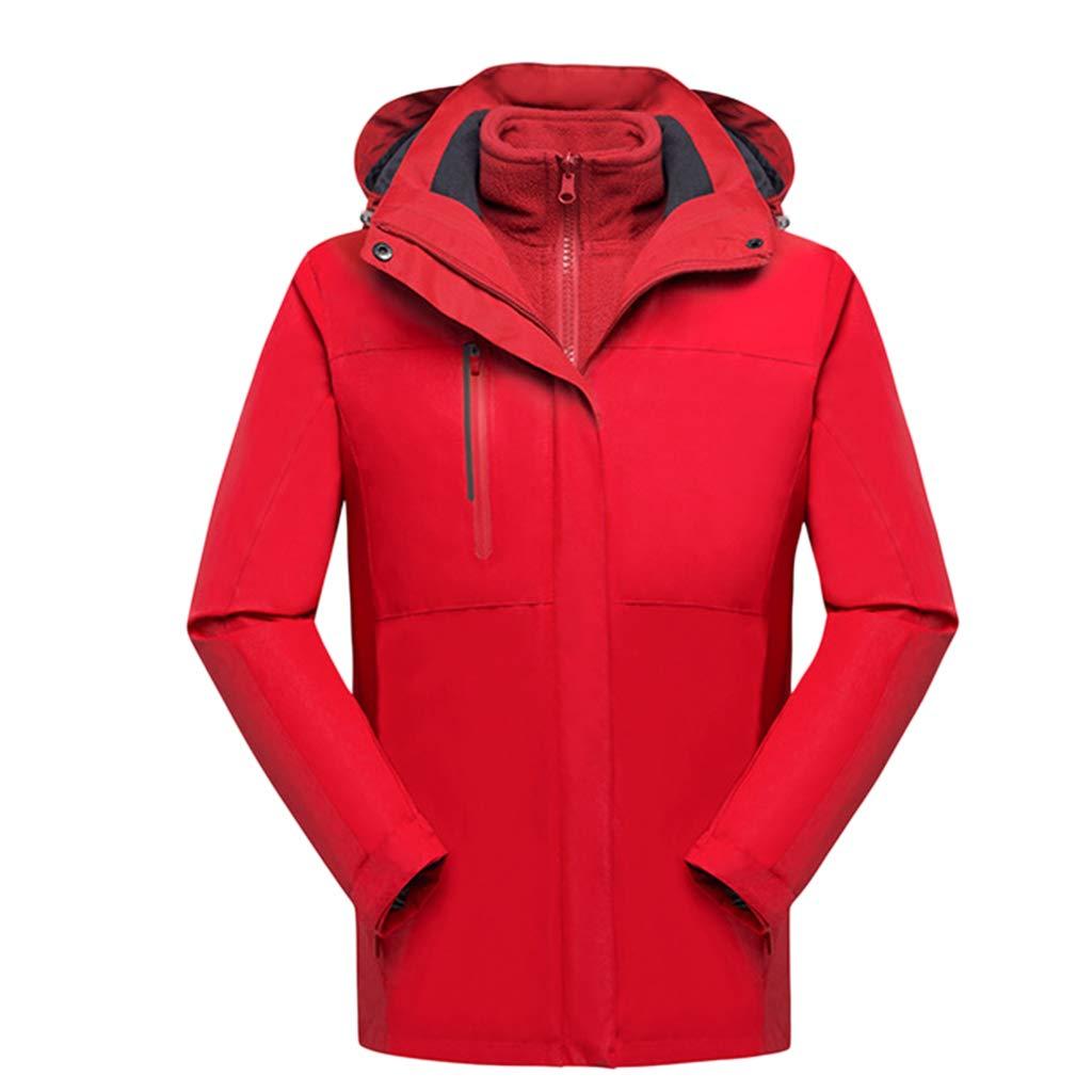 CFYTH Herren Jacke Outdoor Winddicht Wasserdicht Mit Kapuze Windbreaker Jacken 3 in 1 Ski Mäntel Radsport Softshell Regenmantel Sportwear