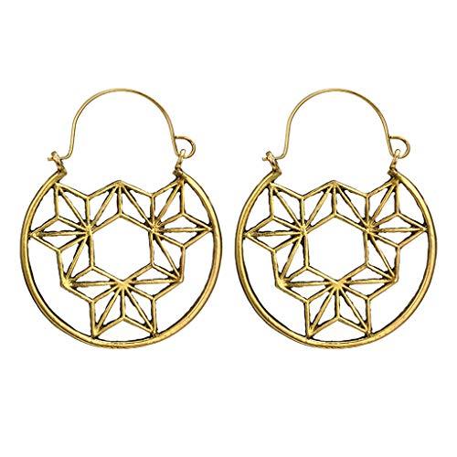 GoodLock(TM) Clearance Sale  Geometry Earrings  Fashion Simple Openwork Retro Flowers Round Hexagonal Earring Jewelry Gifts for Women Ladies Girlfriend (Gold) ()