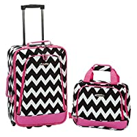 Rockland 2 Pc Luggage Set, Pink Chevron