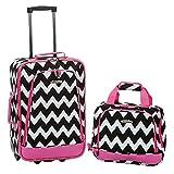 Rockland 2 Piece Expandable Luggage Set, Pink Chevron