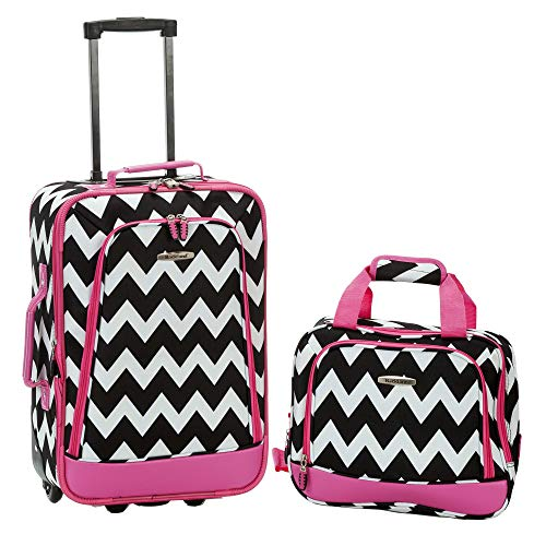 (Rockland 2 Piece Expandable Luggage Set, Pink Chevron)