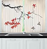 Cheap Ambesonne Japanese Kitchen Curtains, Cherry Blossom Sakura Tree Branches Romantic Spring Themed Watercolor Picture, Window Drapes 2 Panels Set for Kitchen Cafe, 55 W X 39 L Inches, Coral Black