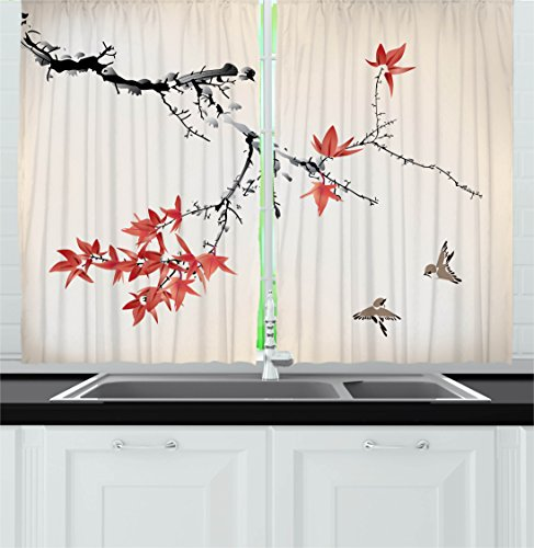 Japanese Kitchen Curtains by Ambesonne, Cherry Blossom Sakura Tree Branches Romantic Spring Themed Watercolor Picture, Window Drapes 2 Panels Set for Kitchen Cafe, 55 W X 39 L Inches, Coral Black (Curtains With On Kitchen Them Cherries)