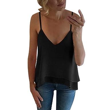 KI-8jcuD Camisa sin Mangas con Cuello en V Color Liso para Mujer ...