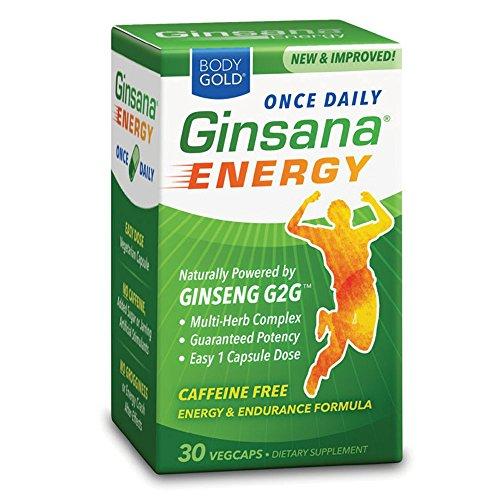 Ginsana Energy, Caffine Free Energy & Endurance Formula, VegCaps, 30 ea