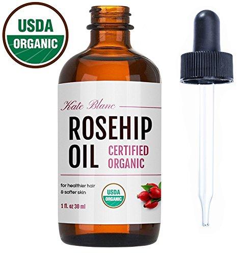 ซื้อ rosehip oil kate blanc usda certified organic 100 pure cold pressed unrefined reduce acne scars ราคาถูก