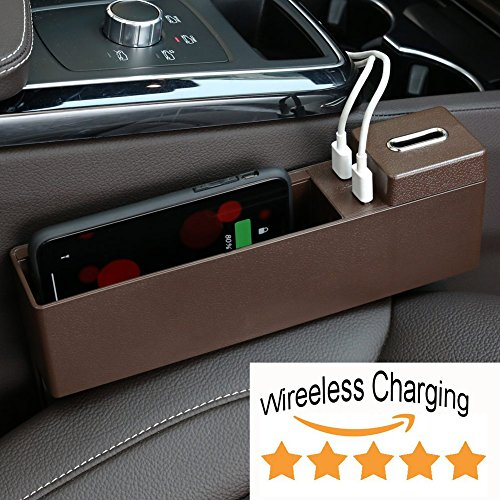 Poker Wolf Car Wireless Charging Console Side Pocket Organizer - Auto Seat Gap Filler Storage Box - Removable Coin Collector & 2 USB Charging Ports - Car Interior Accessories Black (Mocha Brown)