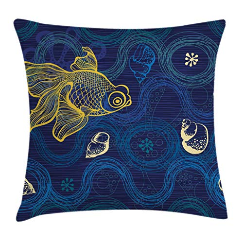 Ambesonne Modern Decor Throw Pillow Cushion Cover by, Ocean Sealife Creature Fish Shell Wavy Flowers Mystic Nature Image, Decorative Square Accent Pillow Case, 16 X 16 Inches, Navy Blue Cream Yellow