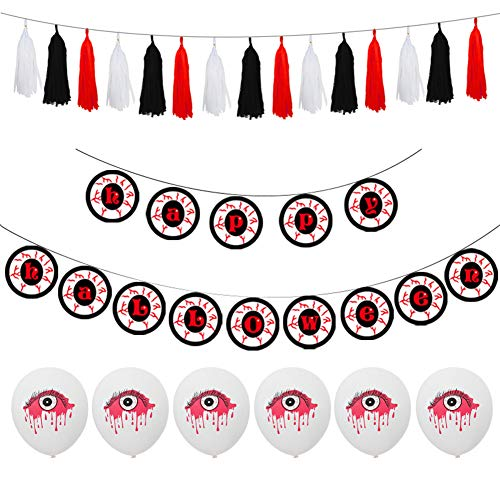 1 Set Halloween Balloon Horror Eye, wang JESS Halloween Pull Flag Latex Balloons for Halloween Party Decoration, Home Ornament