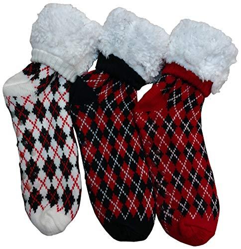 - Prestige Edge 3 Pairs of Sherpa Fleece Lined Slipper Socks, Gripper Bottoms, Best Warm Winter Gift