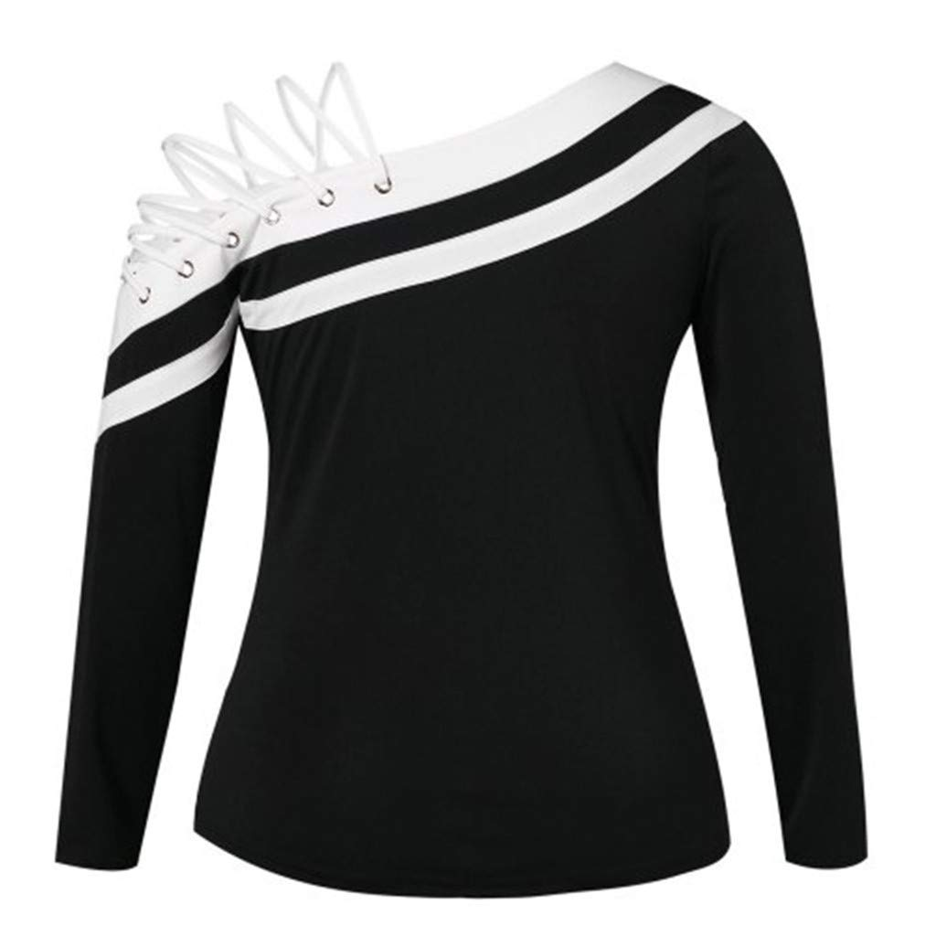 4a6e84450b56 Amazon.com: OldSch001 Women's Long Sleeve One Side Cross Bandage Design  Blouse Fashion Skew-Neck Off-Shoulder Tops: Clothing