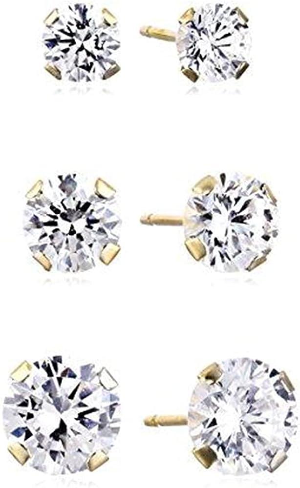 Jewelili 10K Yellow Gold 4MM, 5MM and 6MM Round Cut Swarovski Zirconia Three Stud Earrings Set