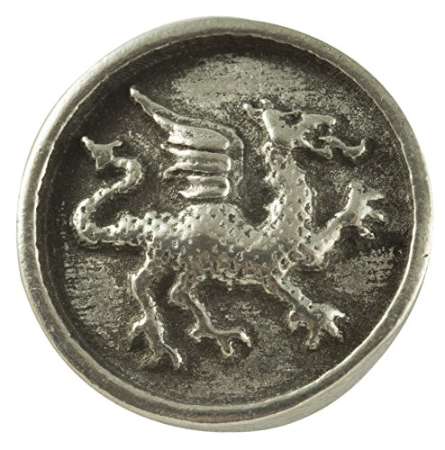Heraldic Dragon Buttons - Card of 4 - Pewter - 19.5mm / 49/64