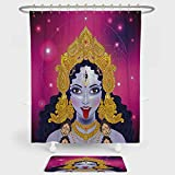 iPrint Ethnic Shower Curtain And Floor Mat Combination Set Ethnic Spiritual Sacred Holy Design Figure Portrait Religion Vitality Ceremonial Decorative For decoration and daily use Multicolor