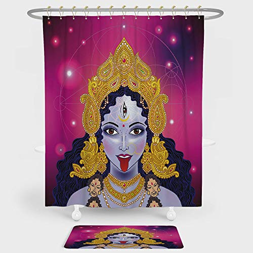 iPrint Ethnic Shower Curtain And Floor Mat Combination Set Ethnic Spiritual Sacred Holy Design Figure Portrait Religion Vitality Ceremonial Decorative For decoration and daily use Multicolor by iPrint