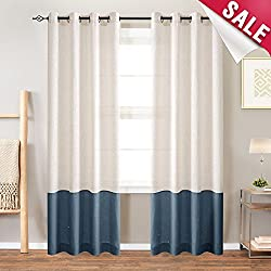 Linen Textured Curtains for Living Light Filtering Curtain Panels Color Block Window Curtains for Bedroom 84 inches Length- Flax & Indigo Blue