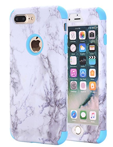 iPhone 7 Plus Case, iPhone 8 Plus Case, JDHDL White Marble Stone Pattern Shockproof 2in1 Dual Layer TPU Bumper Hard PC Hybrid Defender Armor Case Cover for Apple iPhone 7 Plus /8 Plus (Blue)