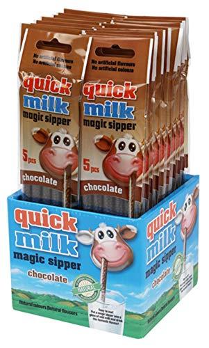 Pajitas mágicas chocolate Quick Milk (20 packs = 100 pajitas). Producto para España. (Chocolate)