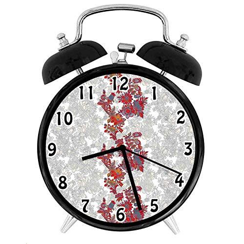 22yiihannz Floral Theme Desk Clock,Romantic Boho Narcissus Magic Magnolia Rose Vibrant -Office,Bedroom,Kitchen,Bathroom,Silent Battery Quartz Desk Clock-4 inch