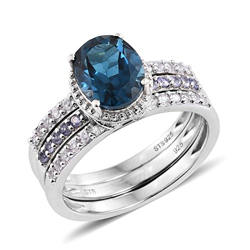 Topaz Zircon Ring (Blue Topaz, Tanzanite, Zircon Platinum Plated Silver Ring 3.88 cttw. Size 5)